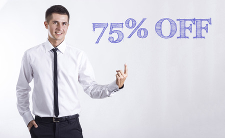 75% OFF - Young smiling businessman pointing on text - horizontal images