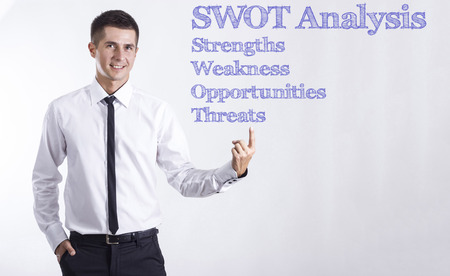 SWOT Analysis - Young smiling businessman pointing on text - horizontal images