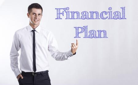 財務計画 - 本文 - 水平方向の画像を指して笑顔きしゃ