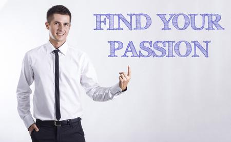 テキストの水平方向の画像を指している笑みを浮かべてきしゃ - あなたの情熱を見つける