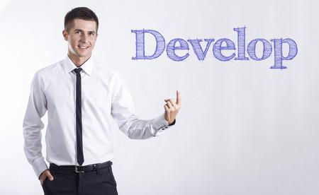 開発 - 本文 - 水平方向の画像を指して笑顔きしゃ