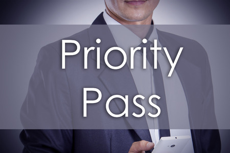 Priority Pass - Young businessman with text - business concept - horizontal image