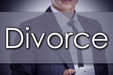 ex wife: Divorce - Young businessman with text - business concept - horizontal image Stock Photo