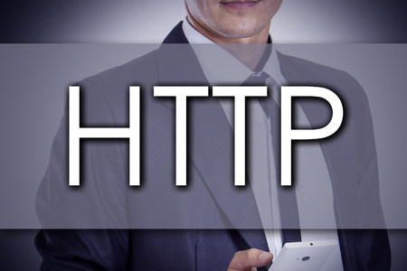 http: HTTP - Young businessman with text - business concept - horizontal image
