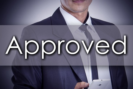 acception: Approved - Young businessman with text - business concept - horizontal image