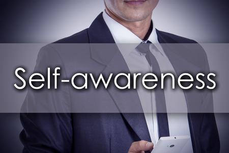 be aware: Self-awareness - Young businessman with text - business concept - horizontal image