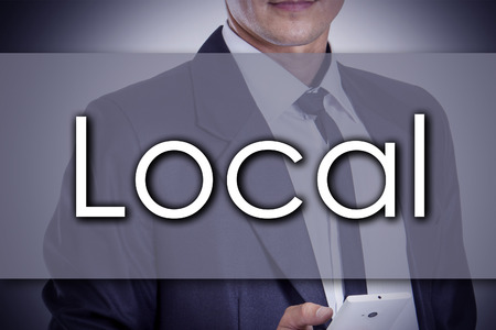 provincial: Local - Young businessman with text - business concept - horizontal image