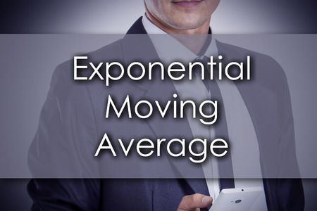 exponential: Exponential Moving Average EMA - Young businessman with text - business concept - horizontal image Stock Photo