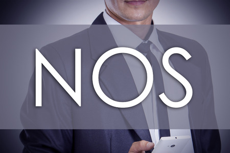 NOS - Young businessman with text - business concept - horizontal image