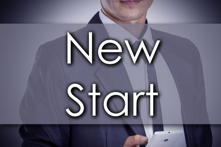 depend: New Start - Young businessman with text - business concept - horizontal image