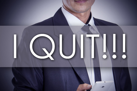 quit: I QUIT!!! - Young businessman with text - business concept - horizontal image Stock Photo