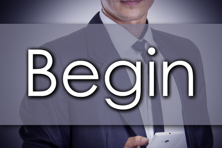 variance: Begin - Young businessman with text - business concept - horizontal image Stock Photo