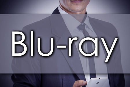blu ray: Blu-ray - Young businessman with text - business concept - horizontal image
