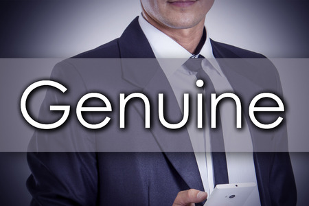Genuine - Young businessman with text - business concept - horizontal image