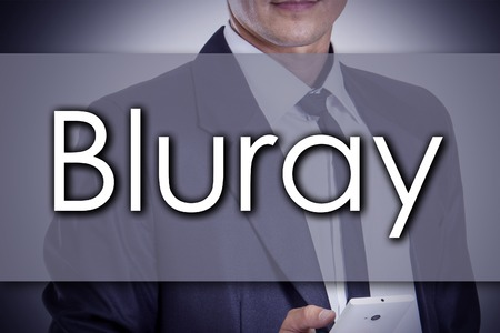 blu ray: Bluray - Young businessman with text - business concept - horizontal image
