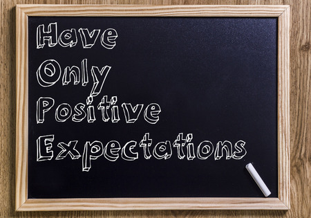 Have Only Positive Expectations HOPE - New chalkboard with outlined text - on wood