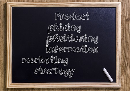 PROFIT - New chalkboard with 3D outlined text - on wood Stock Photo
