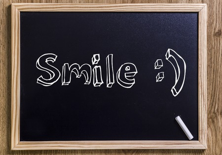 Smile :) - New chalkboard with 3D outlined text - on wood
