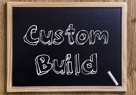 Custom Build - New chalkboard with outlined text - on wood Stock Photo