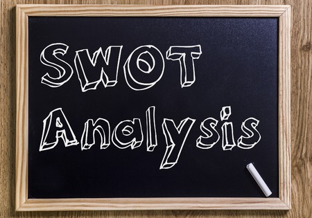 SWOT Analysis- New chalkboard with 3D outlined text - on wood