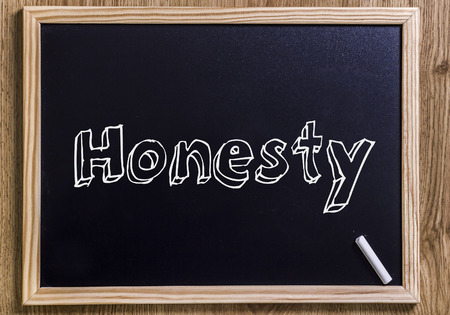 Honesty - New chalkboard with outlined text - on wood Stock Photo