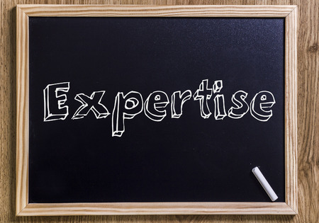 Expertise - New chalkboard with outlined text - on wood
