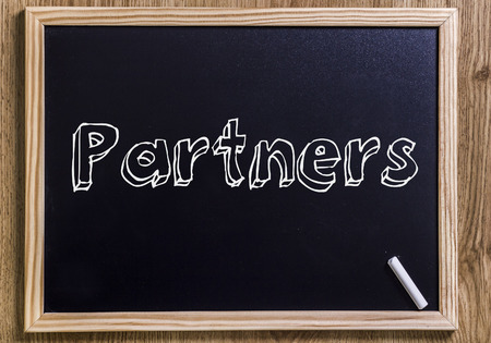 Partners - New chalkboard with 3D outlined text - on wood