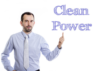 Clean power - Young businessman with small beard pointing up in blue shirt - horizontal image