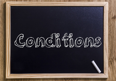Conditions - New chalkboard with outlined text - on wood