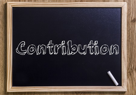 Contribution - New chalkboard with outlined text - on wood Stock Photo