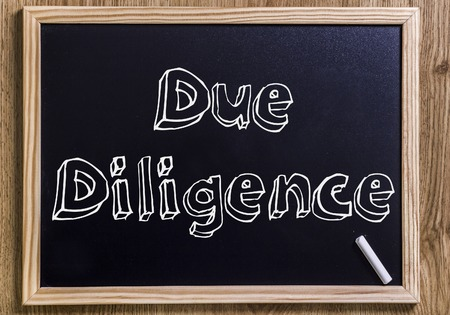 Due Diligence - New chalkboard with outlined text - on wood