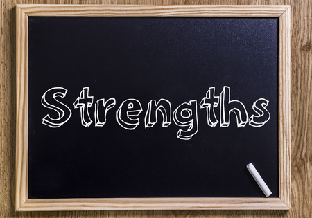 Strengths - New chalkboard with 3D outlined text - on wood
