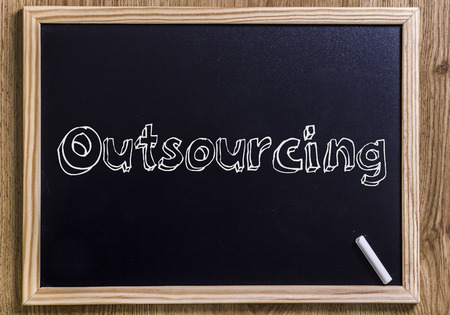 Outsourcing - New chalkboard with 3D outlined text - on wood