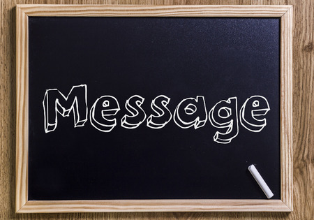 Message - New chalkboard with outlined text - on wood