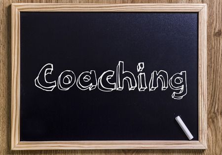 Coaching - New chalkboard with outlined text - on wood