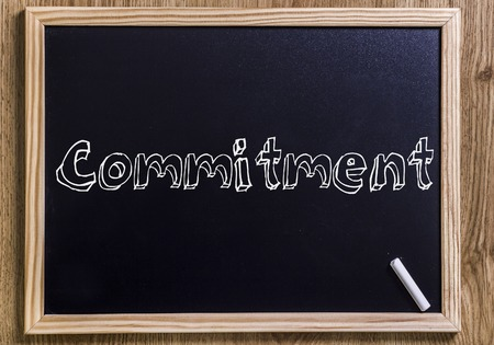Commitment - New chalkboard with outlined text - on wood