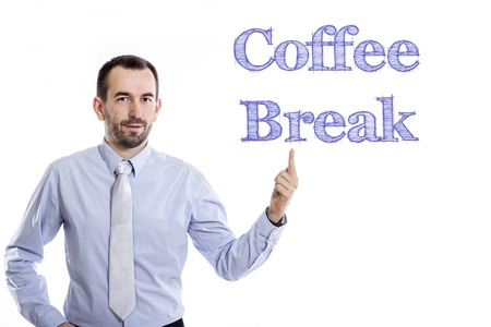 Coffee Break - Young businessman with small beard pointing up in blue shirt - horizontal image