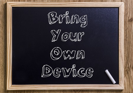 Bring Your Own Device BYOD - New chalkboard with outlined text - on wood
