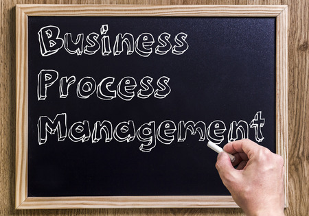 Business Process Management BPM -  New chalkboard with outlined text - on wood