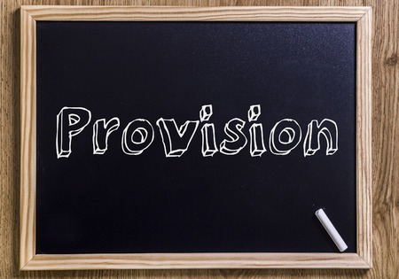 Provision - New chalkboard with 3D outlined text - on wood