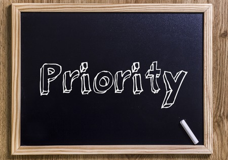 Priority - New chalkboard with 3D outlined text - on wood