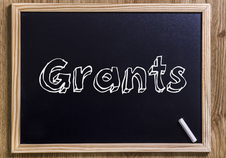 Grants - New chalkboard with outlined text - on wood