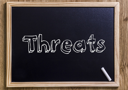 Threats - New chalkboard with 3D outlined text - on wood Stock Photo