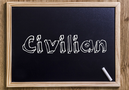 Civilian - New chalkboard with outlined text - on wood Reklamní fotografie