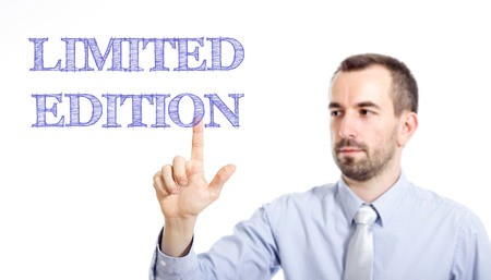 Limited Edition Young businessman with small beard touching text - horizontal image 写真素材