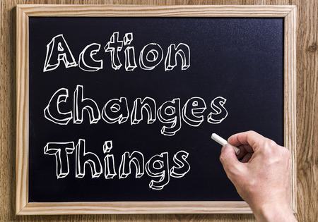 Action Changes Things ACT - New chalkboard with outlined text - on wood