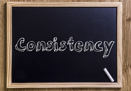 Consistency - New chalkboard with outlined text - on wood