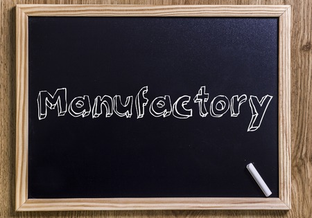 Manufactory - New chalkboard with outlined text - on wood