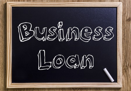 borrowing: Business Loan - New chalkboard with outlined text - on wood