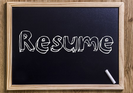 summarize: Resume - New chalkboard with 3D outlined text - on wood